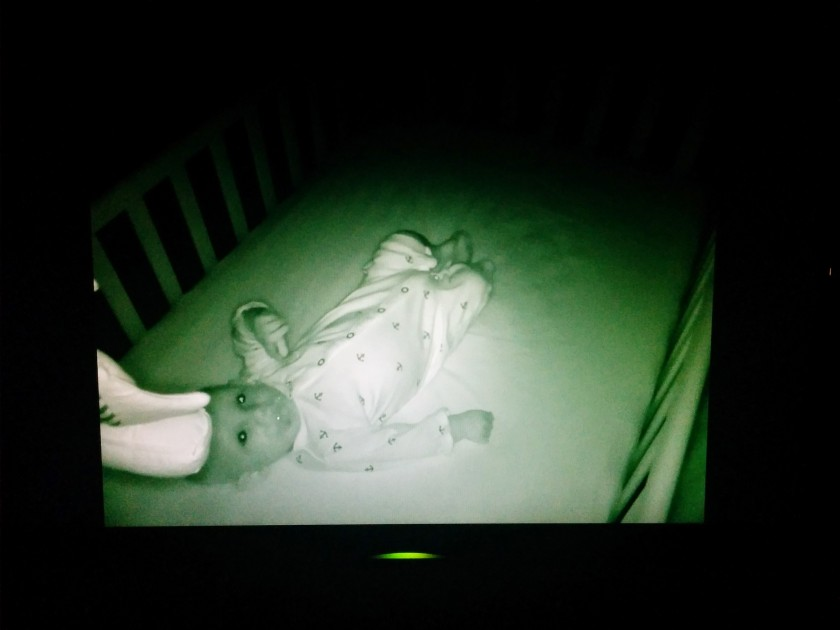 "The baby actually looks a bit creepy here but the picture quality is awesome on this old 25"" monitor I had laying around. I purchased a flat screen TV wall mount for my Bedroom Media Center project."